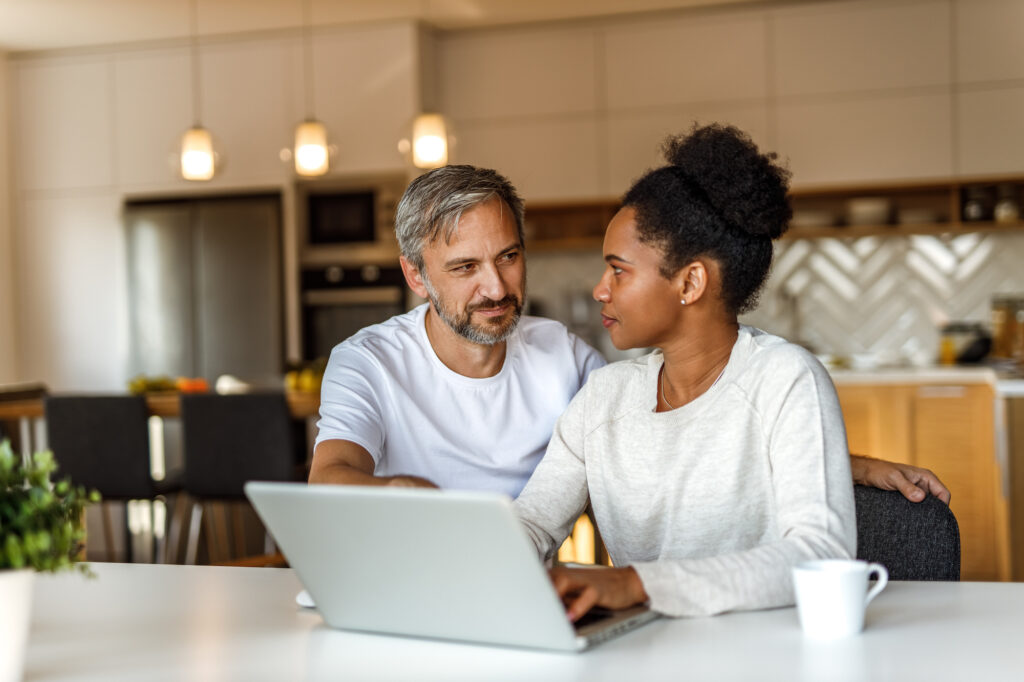 A couple going over finances and retirement